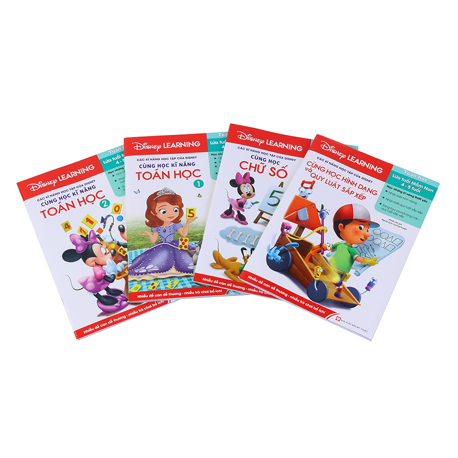 Bìa sách Combo Disney Learning - Kỹ Năng Toán Học 1 (4-5 Tuổi - Bộ 4 Quyển)