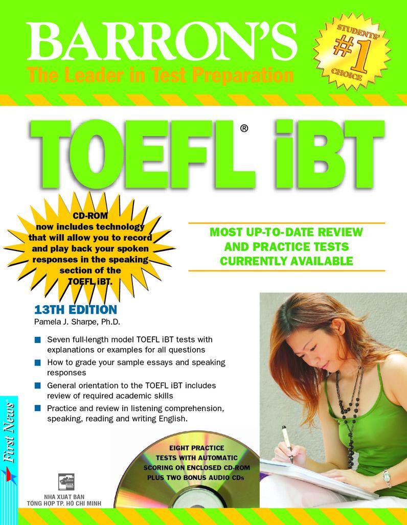 Bìa sách Barron's TOEFL iBT 13th Edition (Kèm 3 CD)