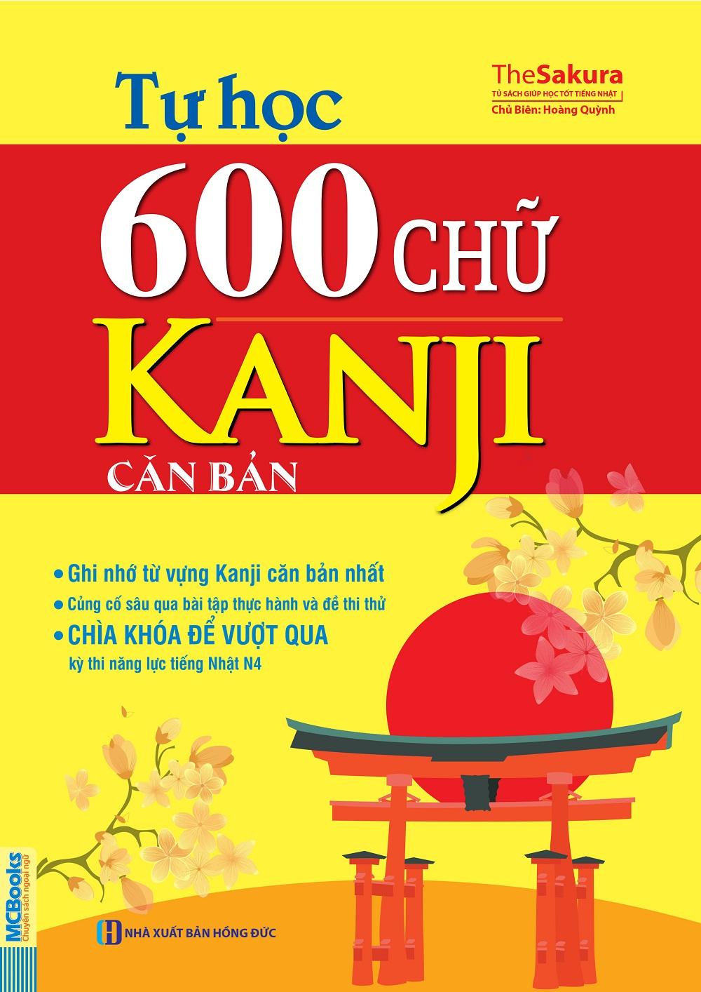 Bìa sách Tự Học 600 Chữ Kanji Căn Bản