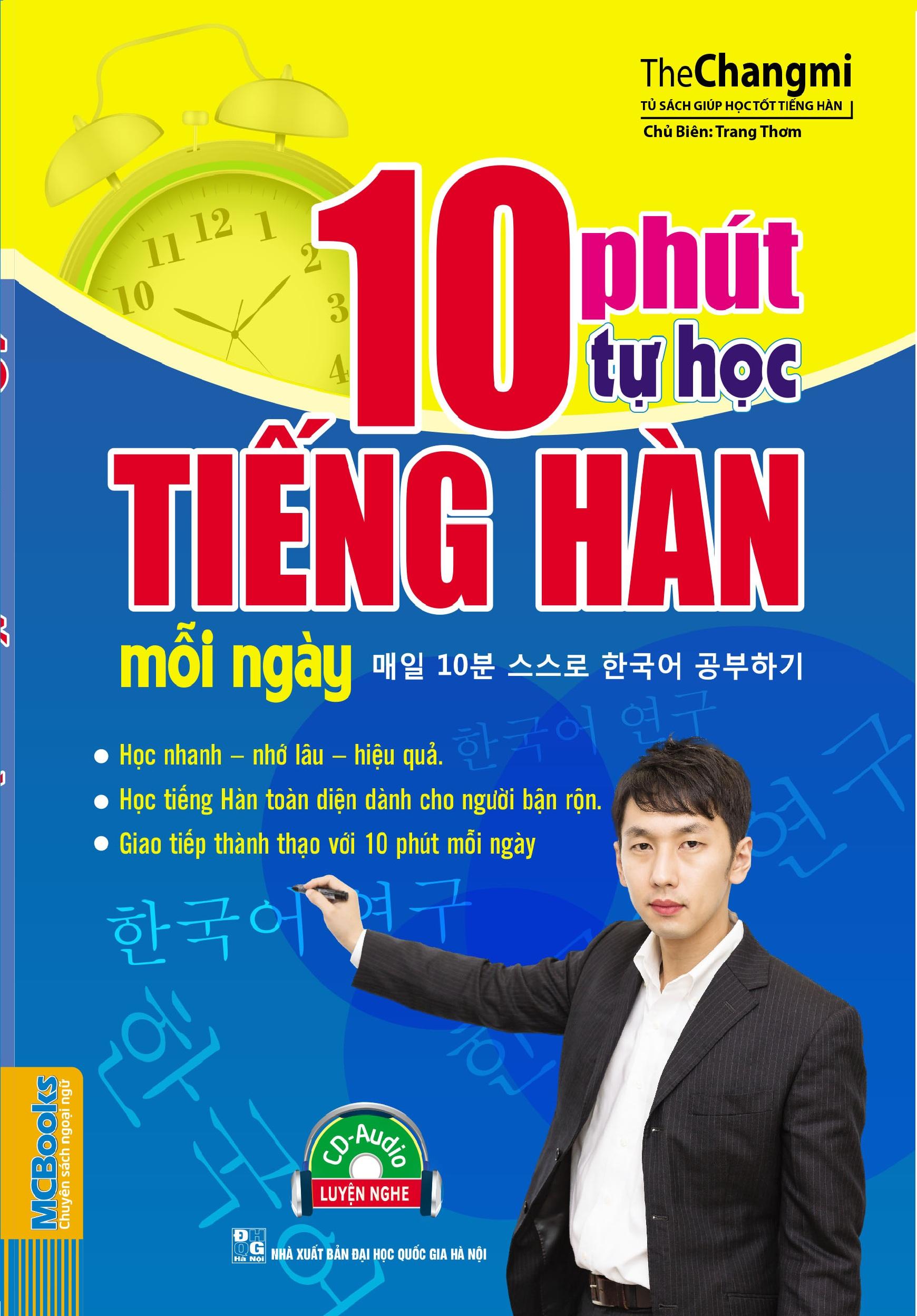 Bìa sách 10 Phút Tự Học Tiếng Hàn Mỗi Ngày