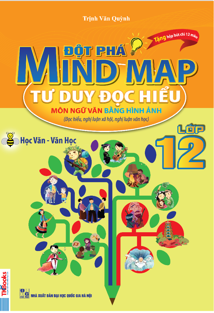 Bìa sách Đột Phá Mindmap - Tư Duy Đọc Hiểu Môn Ngữ Văn Bằng Hình Ảnh Lớp 12 (Tặng kèm Hộp chì 12 màu)