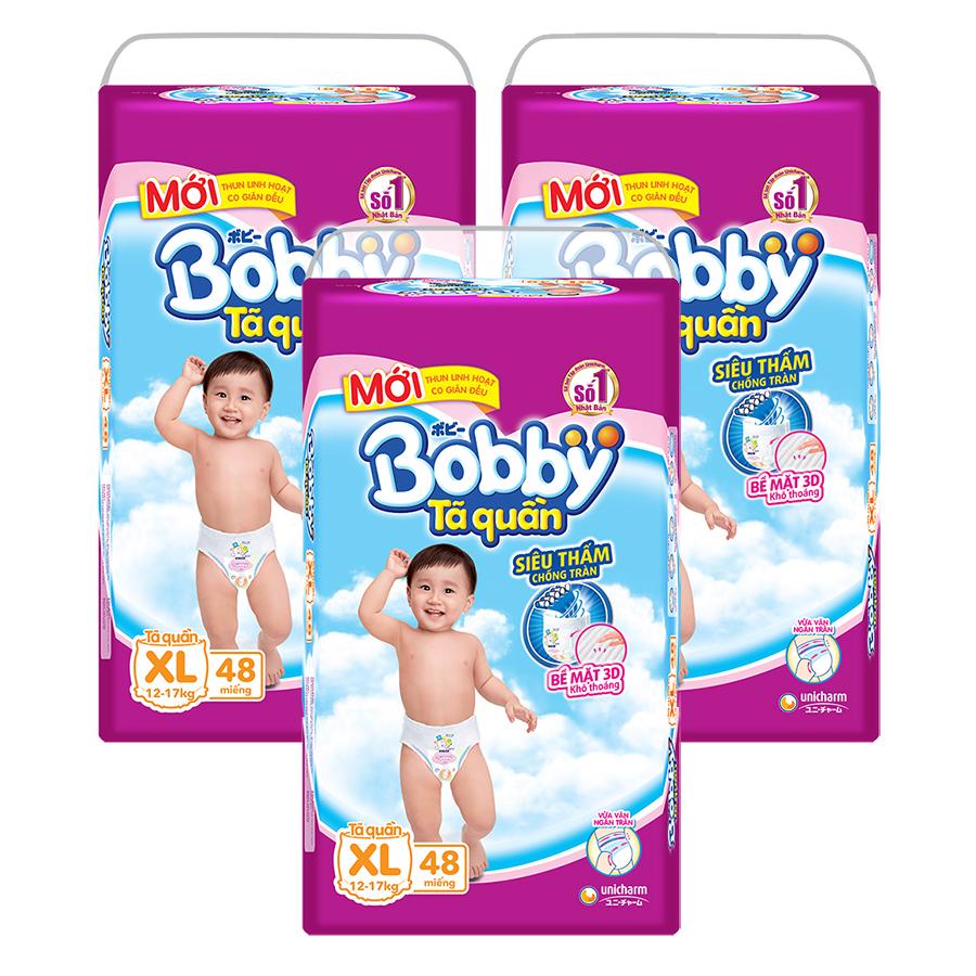 Combo 3 Gói Tã Quần Bobby Gói Cực Đại XL48 (48 Miếng)  = 759.000 ₫