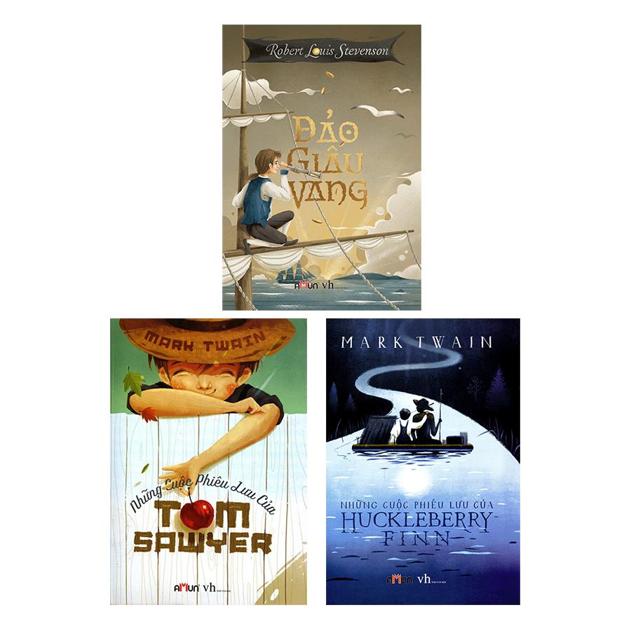 Bìa sách Combo Những Cuộc Phiêu Lưu Của Huckleberry Finn - Những Cuộc Phiêu Lưu Của Tom Sawyer - Đảo Giấu Vàng