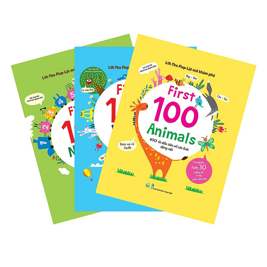 Combo Lift-The-Flap – Lật Mở Khám Phá – First 100 Words + First 100 Animals + First 100 Numbers