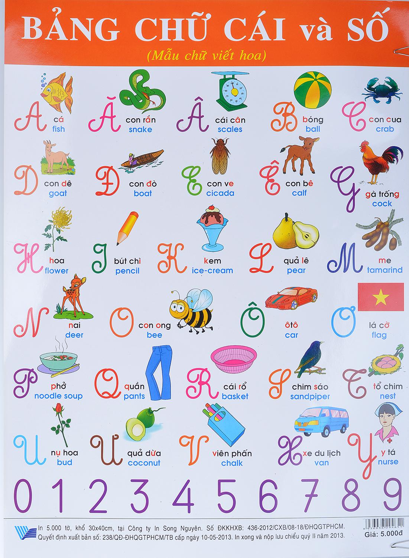 Bìa sách Poster Lớn - Bảng Chữ Cái Và Số (Mẫu Chữ Viết Hoa)