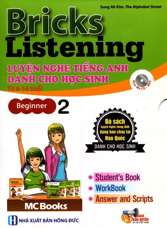 Bìa sách Bricks Listening Beginnner - Luyện Nghe Tiếng Anh Dành Cho Học Sinh Từ 8-16 Tuổi - Beginner 2