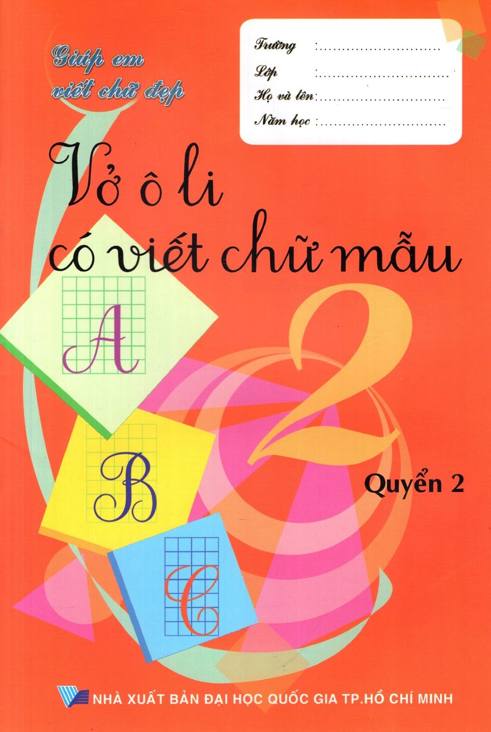 Bìa sách Vở Ô Li Có Viết Chữ Mẫu Lớp 2 (Quyển 2)
