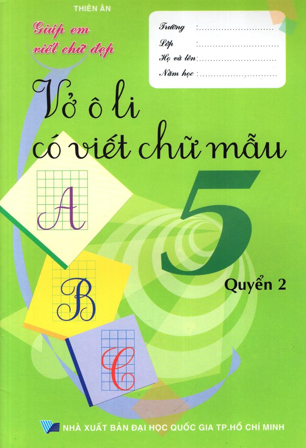Bìa sách Vở Ô Li Có Viết Chữ Mẫu Lớp 5 (Quyển 2)