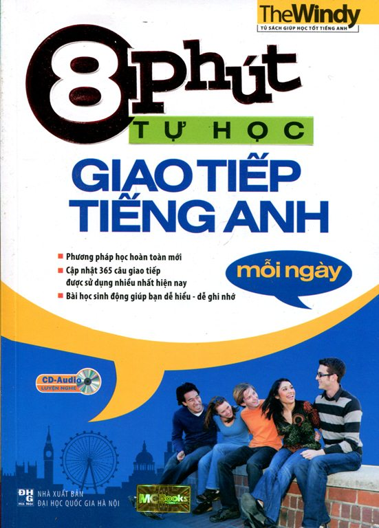 Bìa sách 8 Phút Tự Học Giao Tiếp Tiếng Anh Mỗi Ngày (Kèm CD)