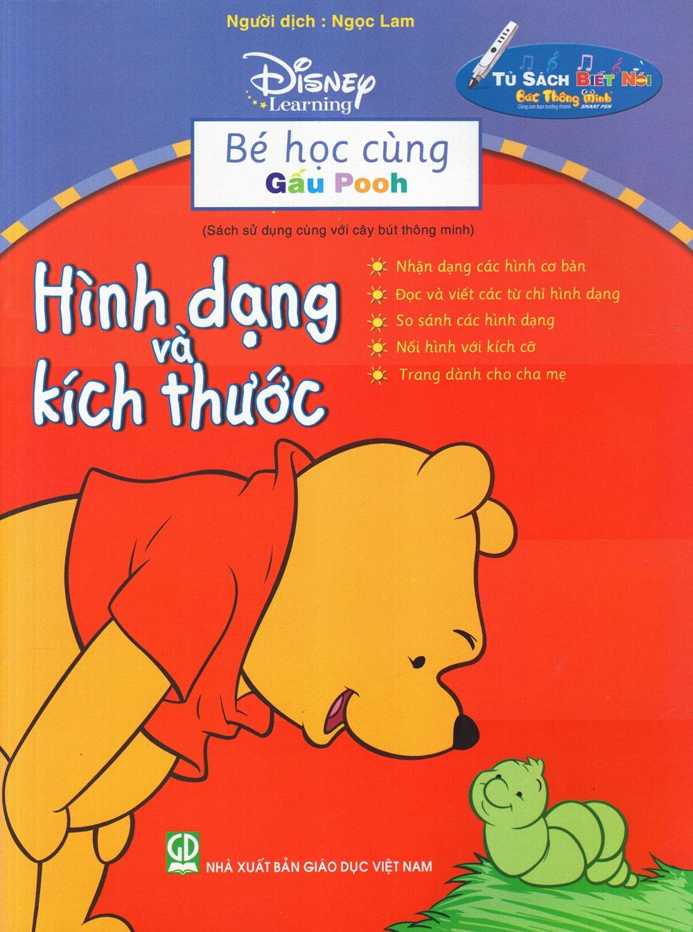 Bìa sách Bé Học Cùng Gấu Pooh: Hình Dạng Và Kích Thước