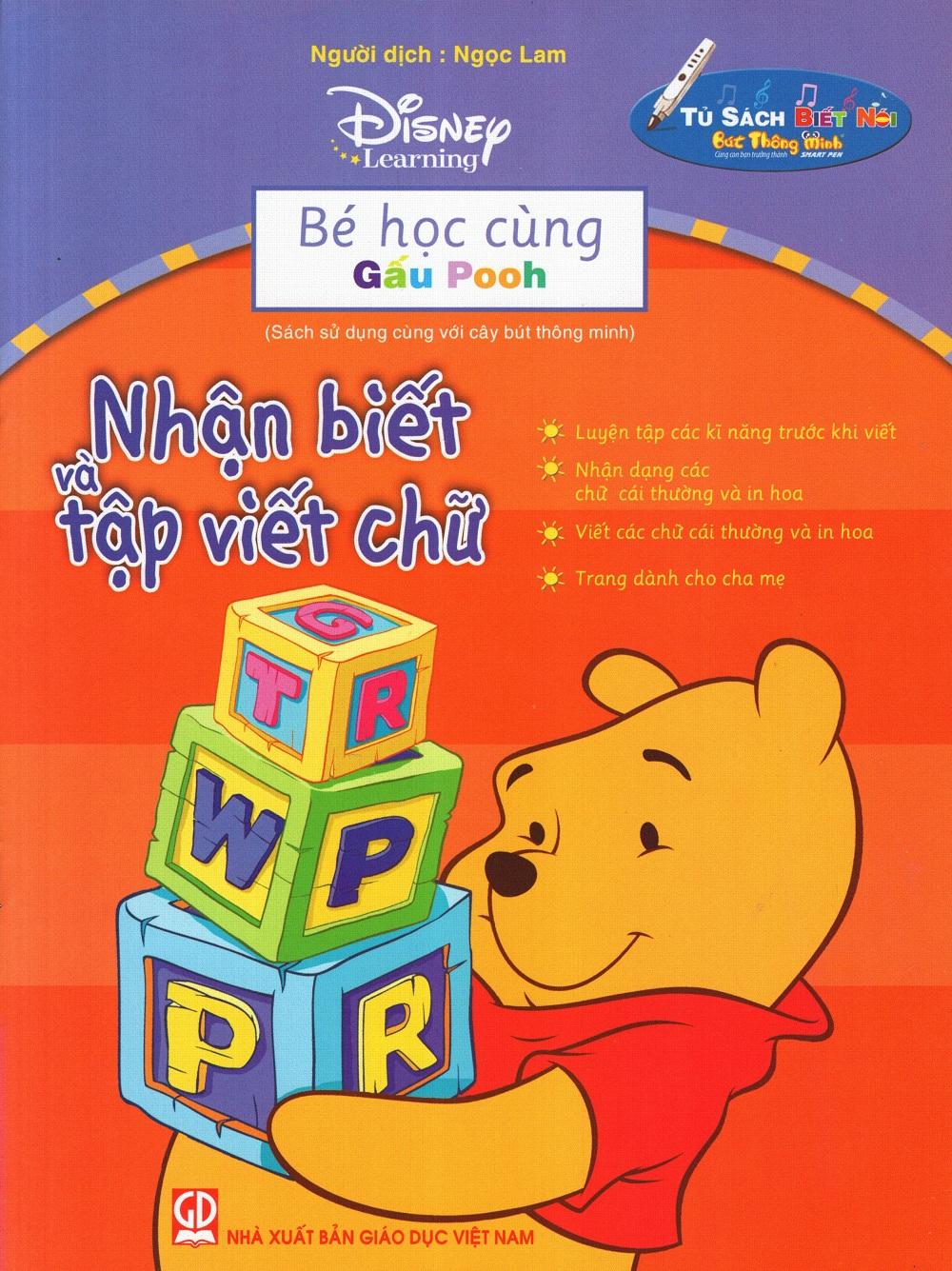 Bìa sách Bé Học Cùng Gấu Pooh: Nhận Biết Và Tập Viết Chữ