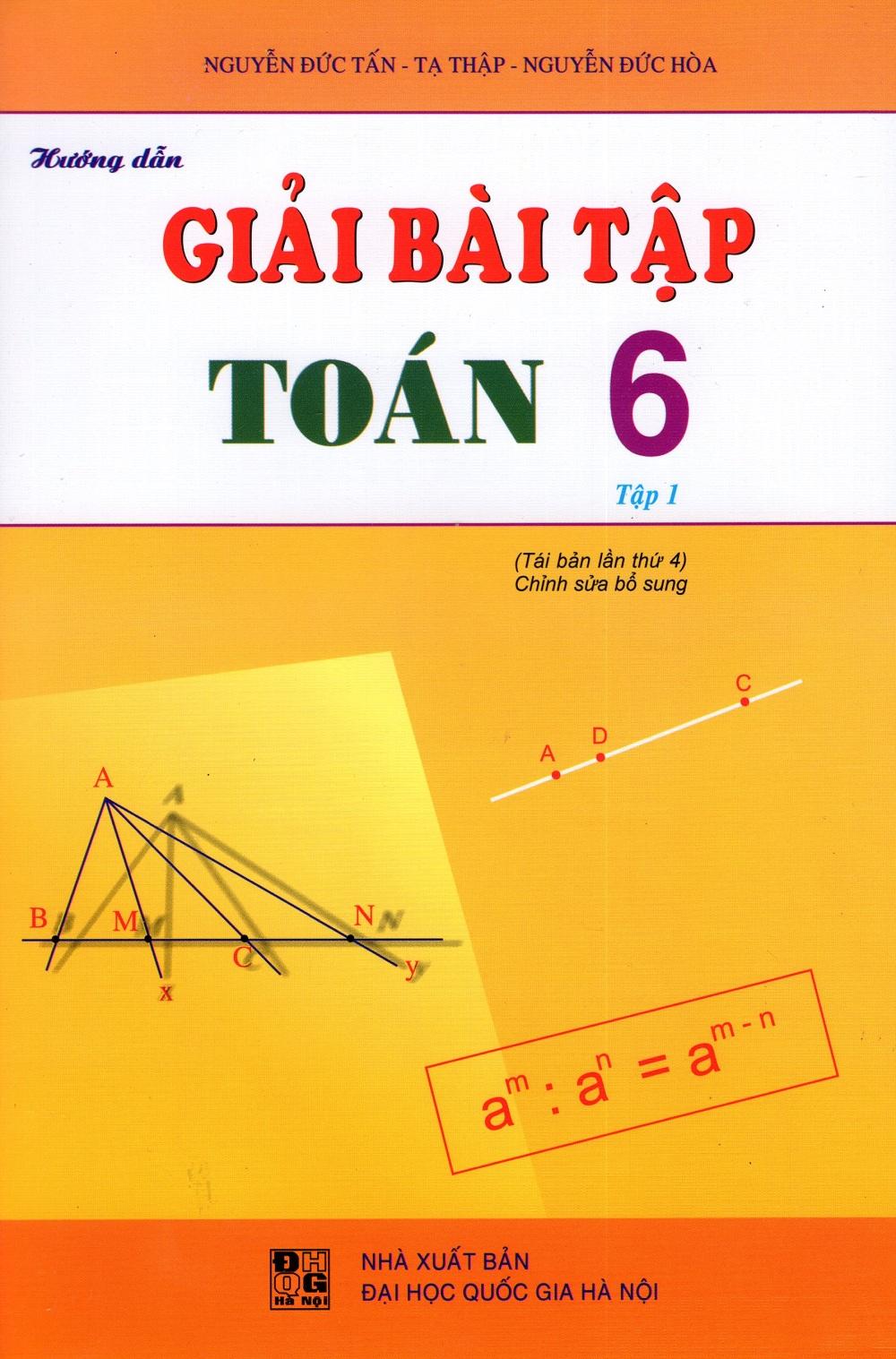 Bìa sách Hướng Dẫn Giải Bài Tập Toán Lớp 6 (Tập 1)