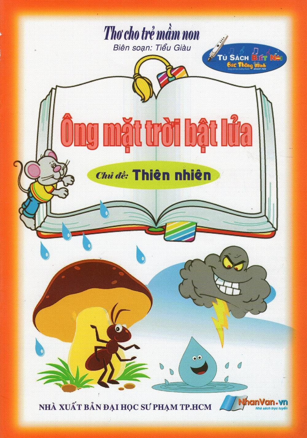 Bìa sách Thơ Cho Trẻ Mầm Non - Ông Mặt Trời Bật Lửa - Chủ Đề: Thiên Nhiên