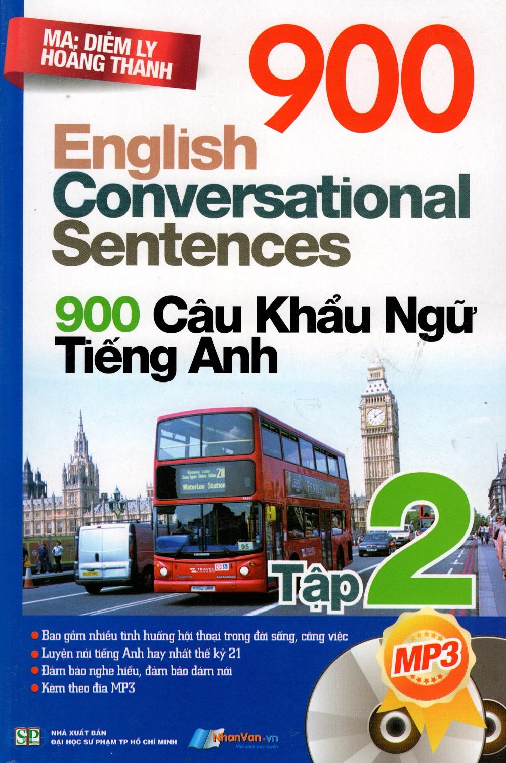 Bìa sách 900 Câu Khẩu Ngữ Tiếng Anh (Tập 2) - Kèm CD