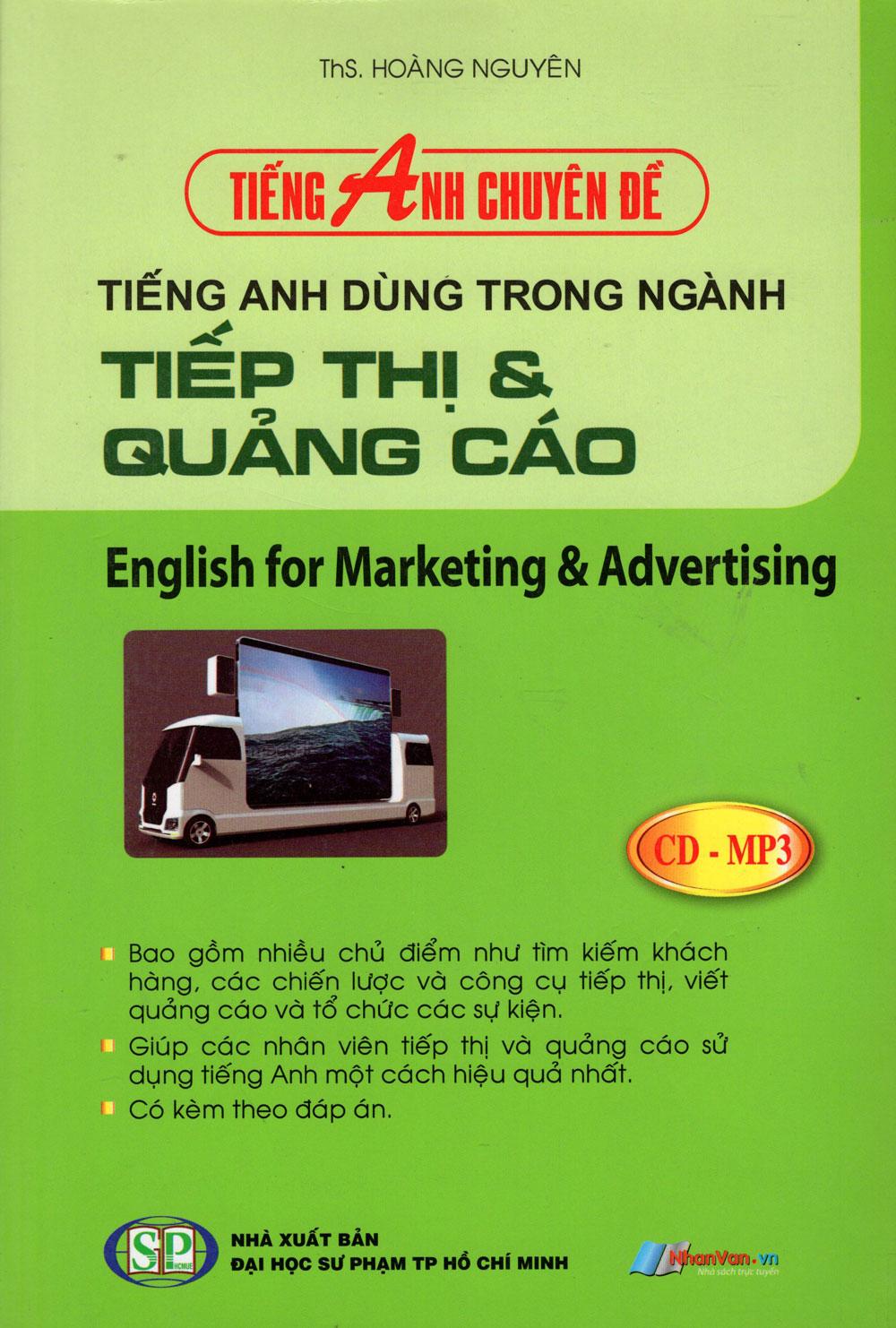 Bìa sách Tiếng Anh Chuyên Đề - Tiếng Anh Trong Ngành Tiếp Thị  Quảng Cáo (Kèm CD)