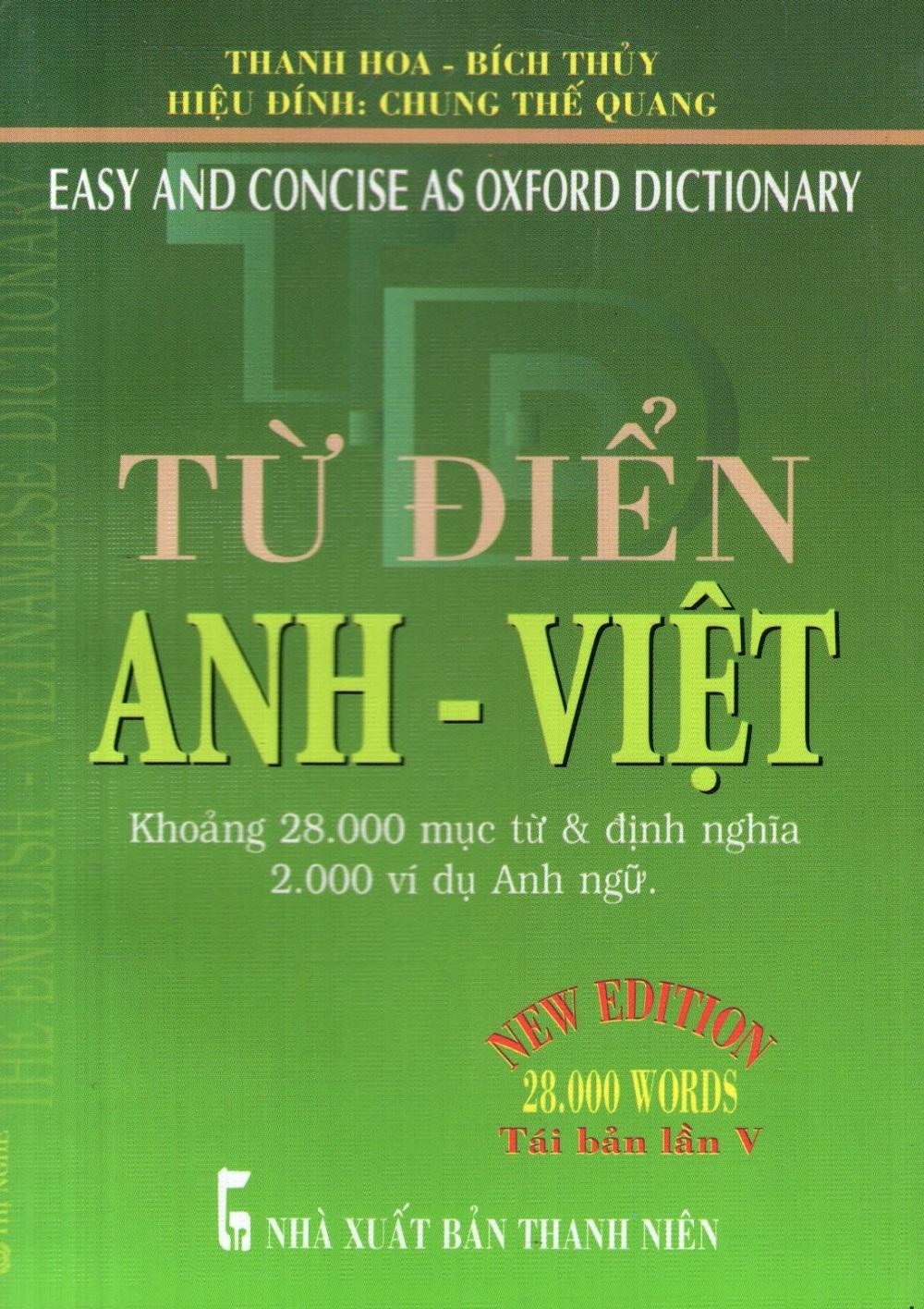 Bìa sách Từ Điển Anh - Việt (Khoảng 28.000 Từ) - Sách Bỏ Túi