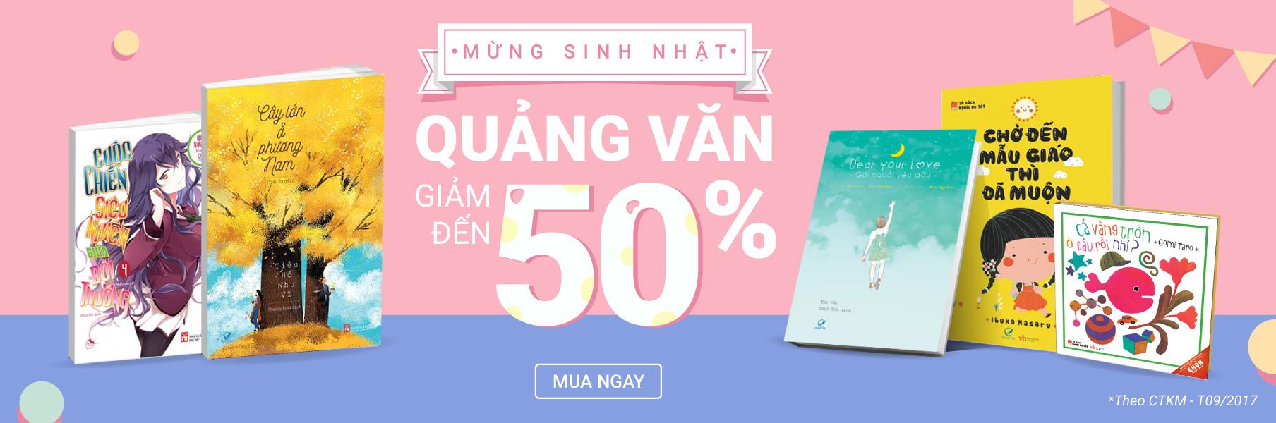 Sách Quảng Văn giảm đến 50%