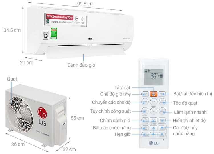 Máy Lạnh Inverter LG V18ENF (2.0HP)  = 13.990.000 ₫
