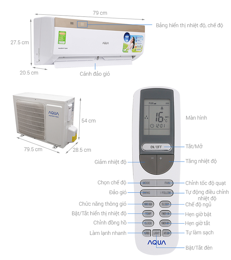 Máy Lạnh Inverter Aqua AQA-KCRV9VKS (1.0HP)  = 5.990.000 ₫