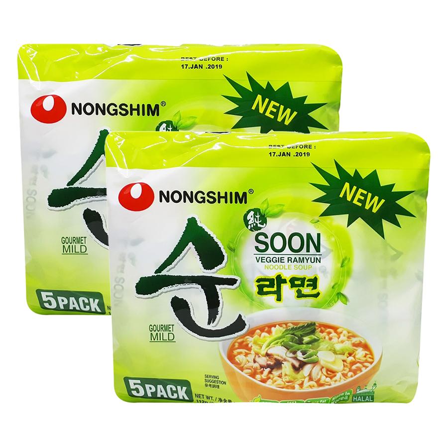 Lốc 10 Gói Mì Chay Soon Veggie Ramyun (112g / Gói)
