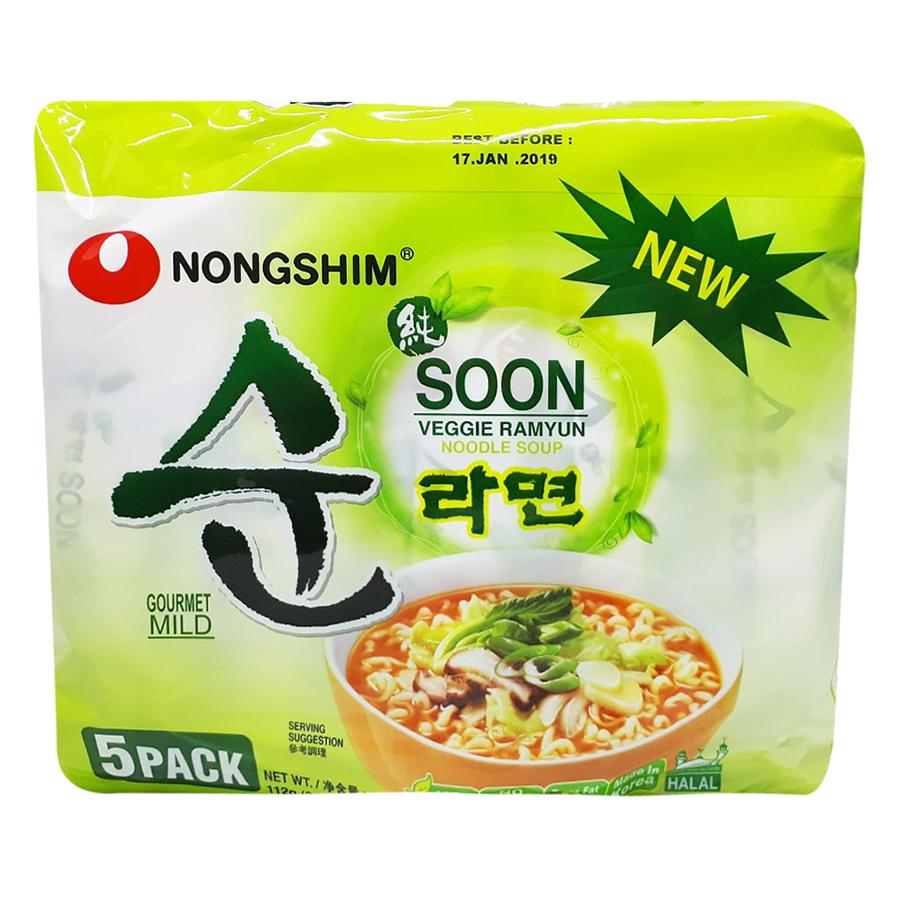 Lốc 5 Gói Mì Chay Soon Veggie Ramyun (112g / Gói)