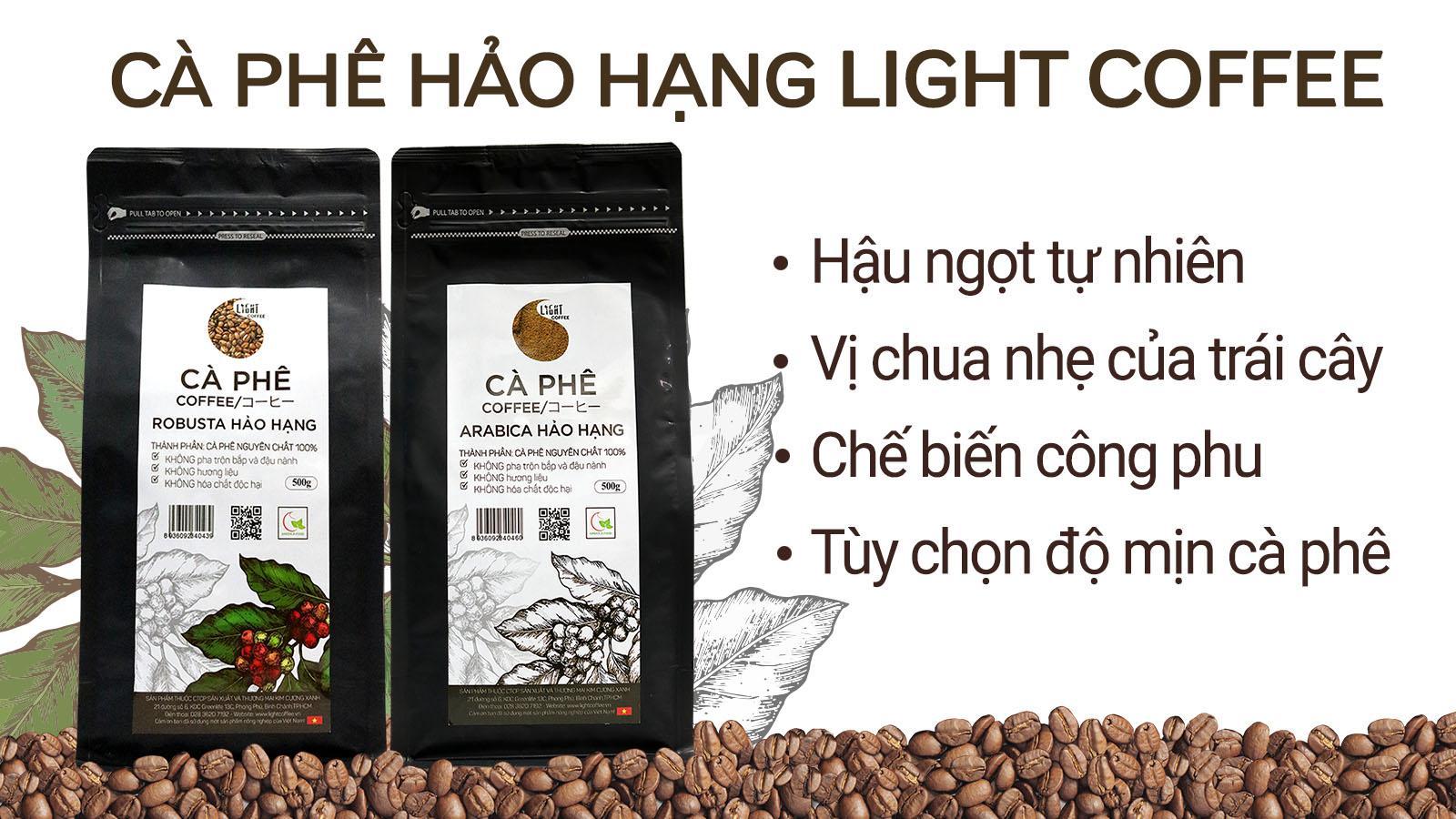 Cà Phê Hạt Nguyên Chất 100% Robusta Hảo Hạng Light Coffee RHH-500 (500g)