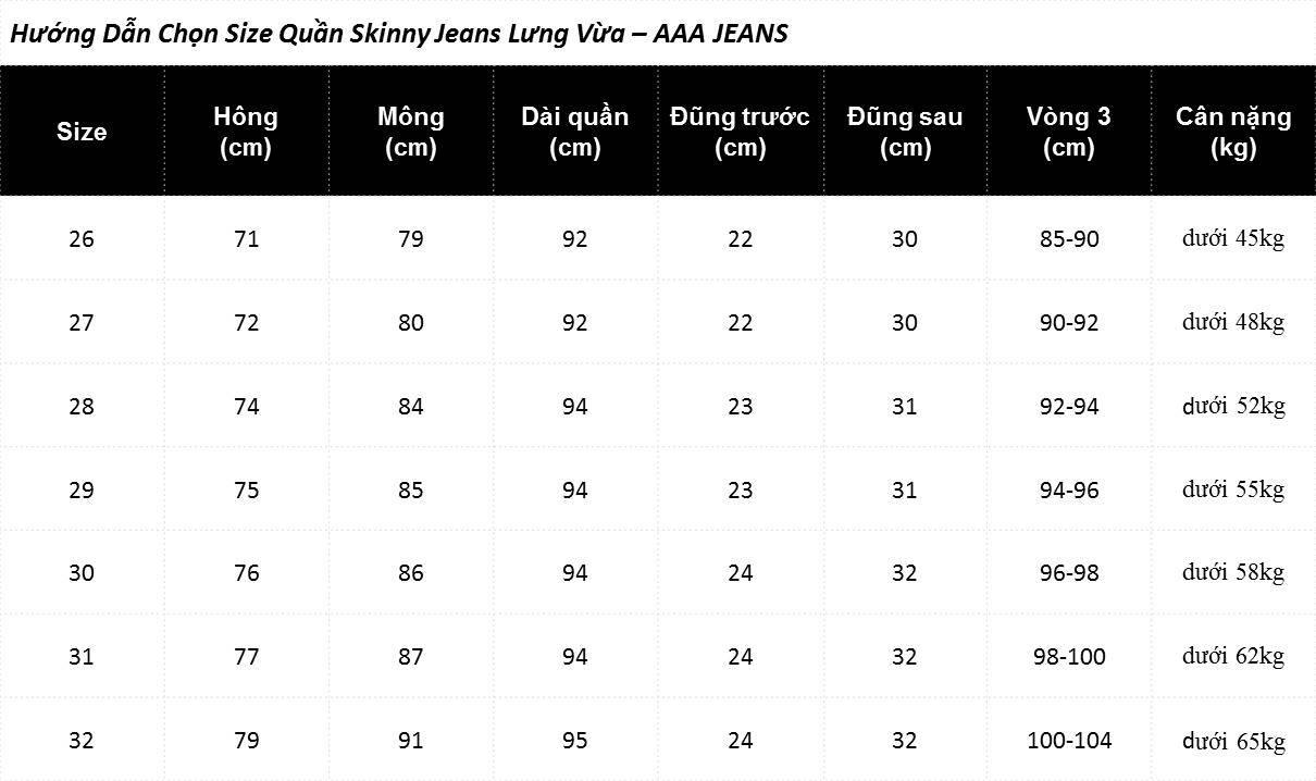 Quần Jeans Nữ Dáng Ôm (Skinny) Lưng Vừa Màu Xám Trắng - AAA JEANS