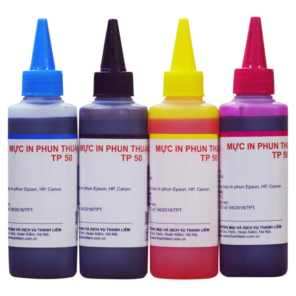 (BỘ 4 MÀU) Mực in phun Thuận Phong TP50 (100ml) dùng cho máy in phun Epson, HP, Canon