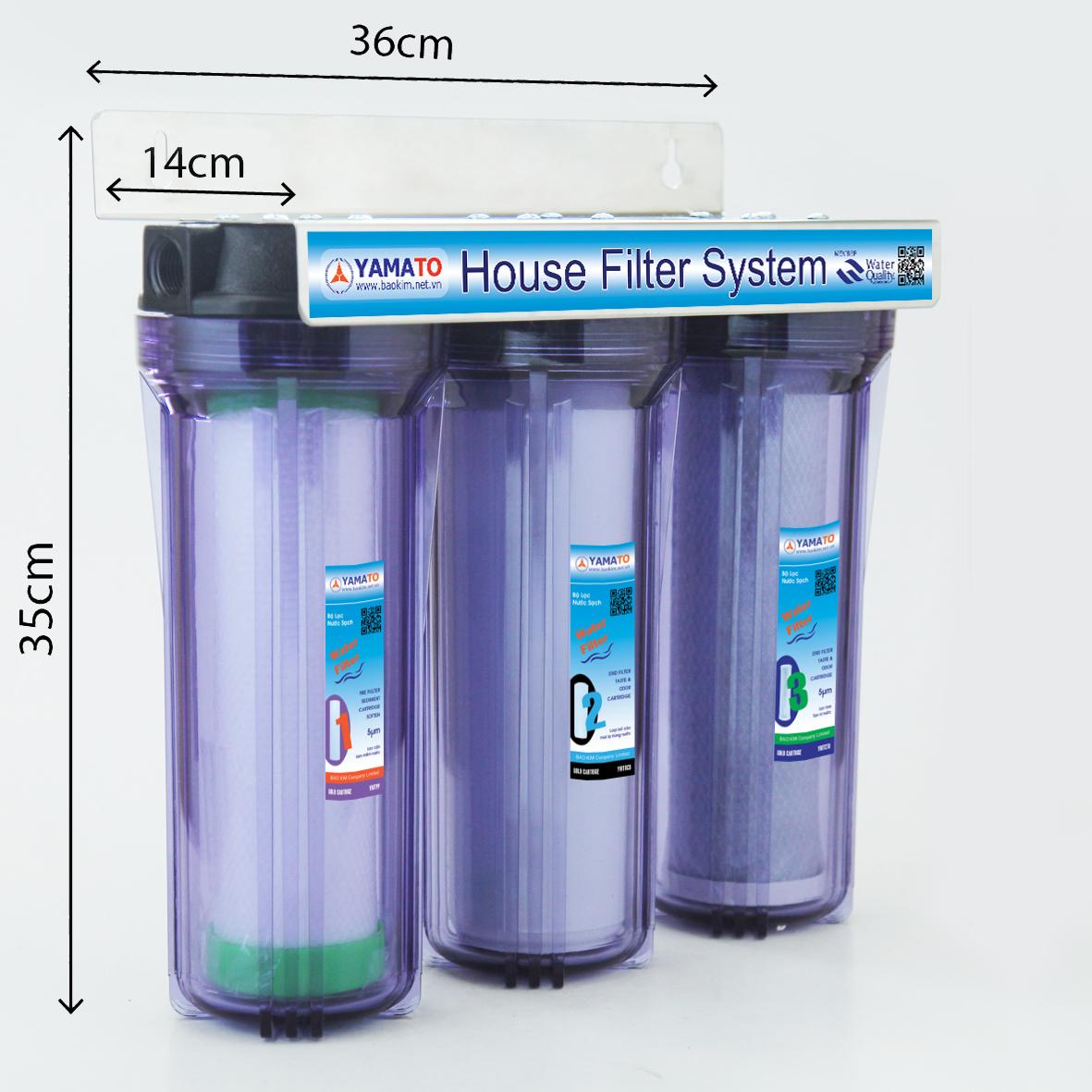 Bộ lọc nước thô đầu nguồn 3 cấp lọc 10inch Yamato YMTH10-3T