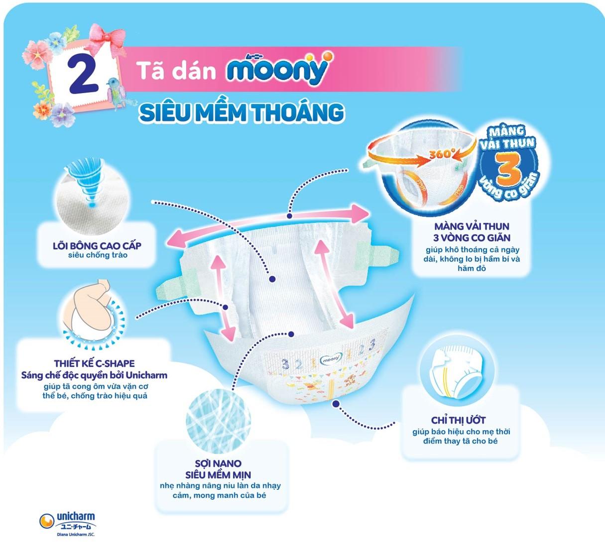 Combo 3 gói tã dán Moony cao cấp size NB90 S84 M64 XL44 tặng đồ chơi tắm Toys House và chậu tắm phao vịt vàng 1
