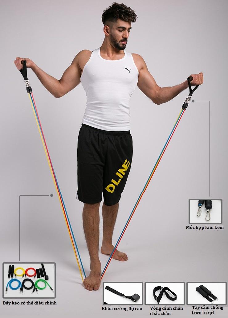 Dây đàn hồi tập Gym S2-11X, bộ dây tập thể lực 5 màu - Bộ 11 chi tiết, dây tập kháng lực 100LB tiêu chuẩn - POKI