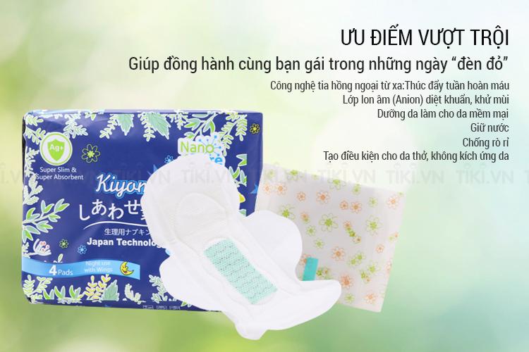 Băng Vệ Sinh Ban Đêm Kiyomi (Gói 4 Miếng)