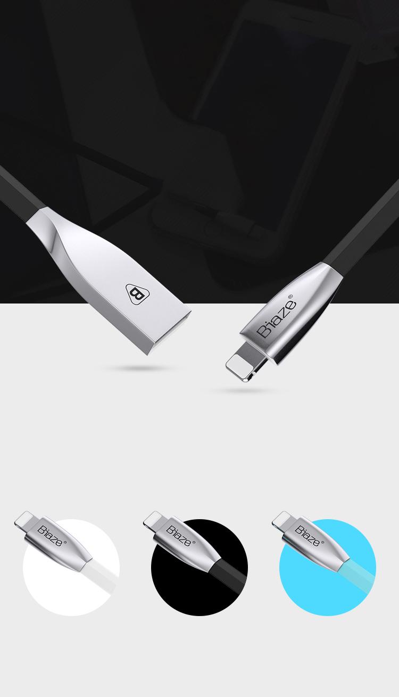 Cáp Sạc Kẽm Hợp Kim Cho Apple iPhone 5 / 6S / 7 Plus / 8 / X Và Ipad Air / Mini BIAZE K8 - Xanh, 1.2m