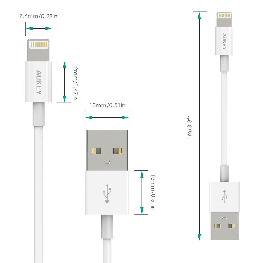 Dây Cáp Sạc Lightning Cho iPhone Chuẩn mFI Aukey CB-D20 1m - Hàng Chính Hãng