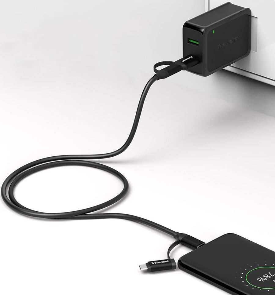 Dây Cáp Sạc Đa Năng 4 Trong 1 USB Type-C / Micro USB / USB 2.0 Tronsmart C4N1 - Hàng Chính Hãng