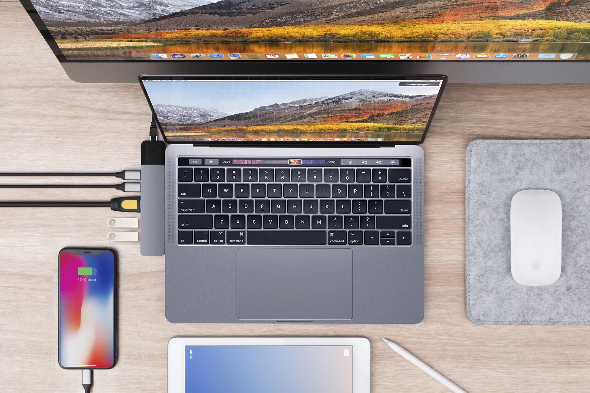 """Cổng chuyển Hyperdrive NET 6 in 2 Hub dành cho Macbook Pro 13"""" 15"""" 2016/2017/2018 - Hàng chính hãng"""