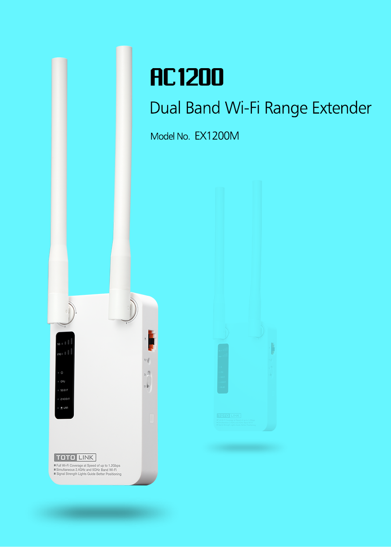 Thiết Bị Mở Rộng Sóng Wifi Băng Tần Kép AC1200 TotoLink EX1200M - Hàng Chính Hãng