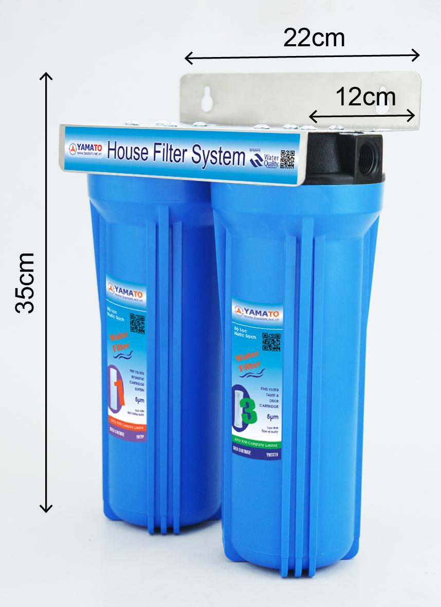 Bộ lọc nước thô đầu nguồn 2 cấp lọc 10inch Yamato YMTH10-2X