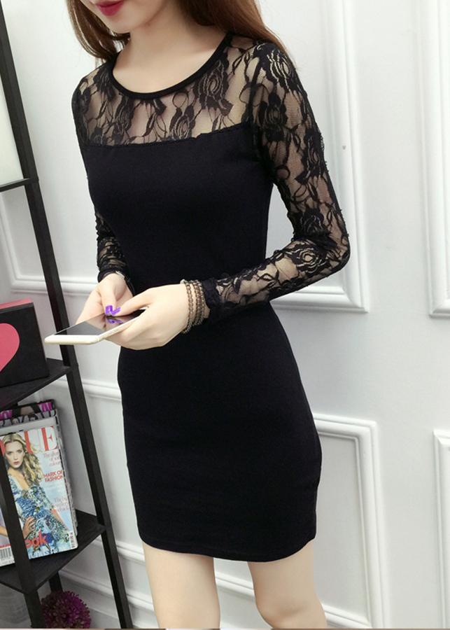 Đầm dự tiệc nữ dáng ôm phối ren da64 3
