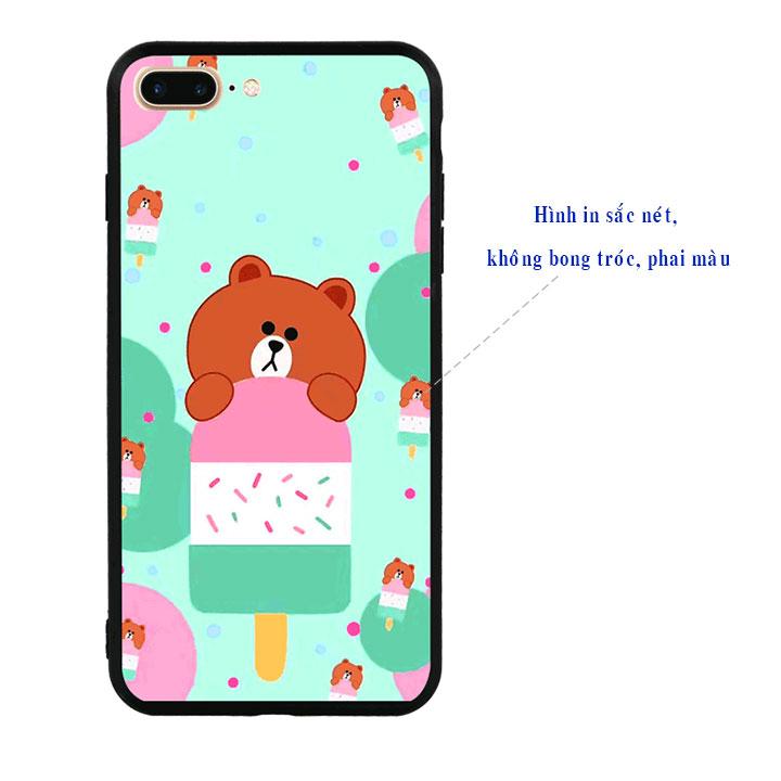 Ốp lưng viền TPU cao cấp cho Iphone 7 Plus - Gấu Brown 04
