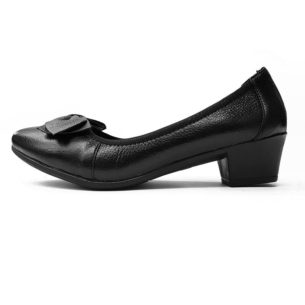 Giày Cao Gót Nữ Đế Vuông Cao 3cm Da Thật Siêu Mềm Evelynv 3P05DTP (Đen) 3
