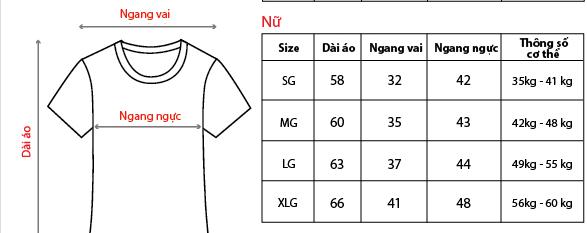 Bảng hướng dẫn chọn size Áo của Dunlop