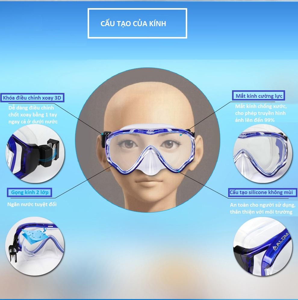 Kính lặn ống thở AMS, mắt KÍNH CƯỜNG LỰC + ống thở van 1 chiều ngăn nước cao cấp - DONGDONG