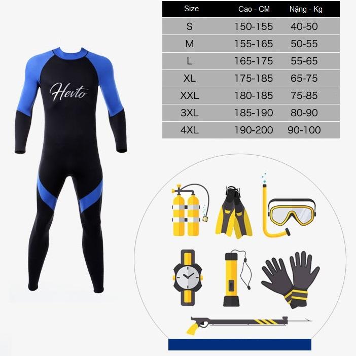 Bộ đồ lặn, quần áo lặn biển cho NAM 3mm HEVTO giữ ấm, thoáng khí, chống thầm nước cao cấp - POKI