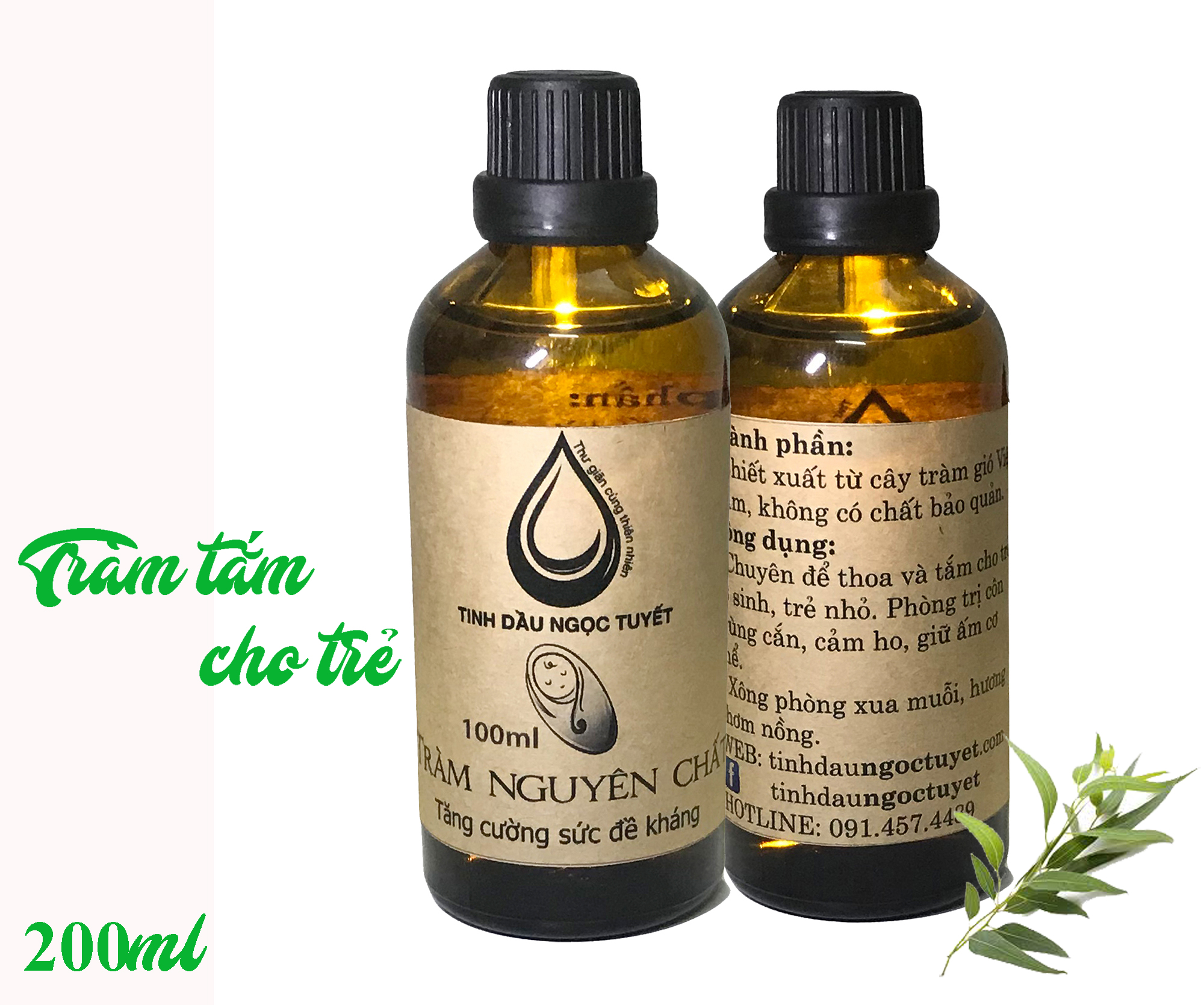 Combo 2 chai tinh dầu tràm nguyên chất tắm chống bệnh vặn cho trẻ nhỏ Ngọc Tuyết 100mlx50ml