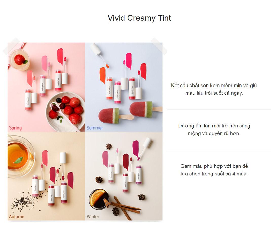 Son Tint Bóng Ẩm Mượt Innisfree Vivid Creamy Tint 4.8g 1