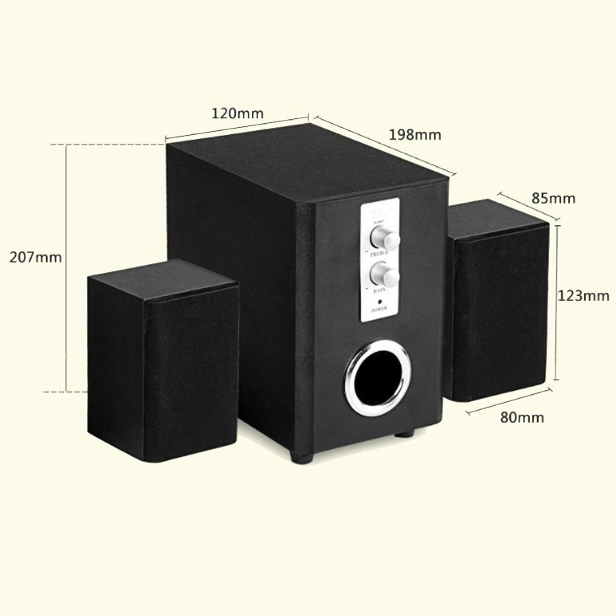 Bộ Loa Máy Tính 2.1 Để Bàn Vỏ Gỗ Âm Thanh Trầm D-200T + Tặng Tai Nghe Bluetooth Nhét Tai