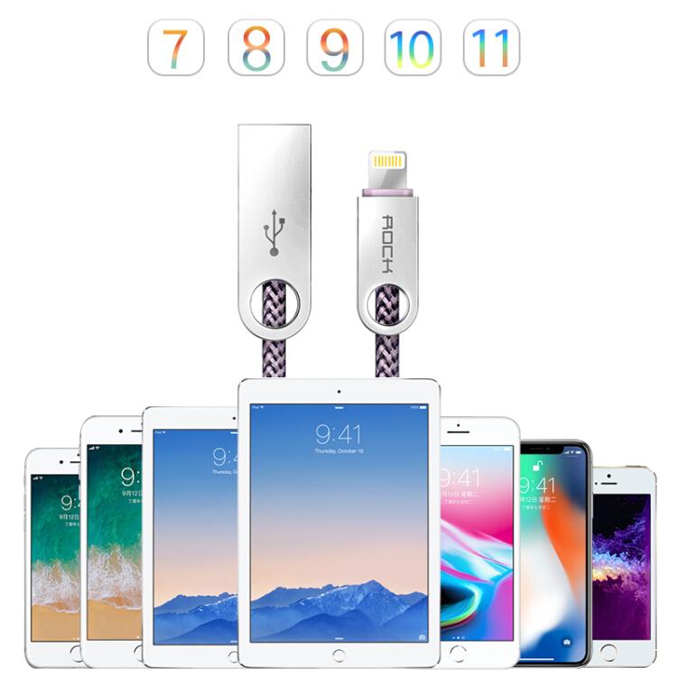 Cáp Sạc Điện Thoại iPhoneX/ 10 / 8Plus / 7 / 6s / SE / 5 / iPad4 Locke (ROCK) 1m - Hợp Kim Thép - Nâu nhạt