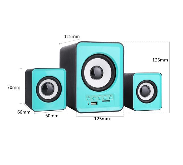 Combo Bộ Loa Máy Tính Để Bàn D-230 Hỗ Trợ Bluetooth, USB, Thẻ nhớ, Jack 3.5 + Tặng Tai Nghe Bluetooth Nhét Tai (Màu ngẫu nhiên)