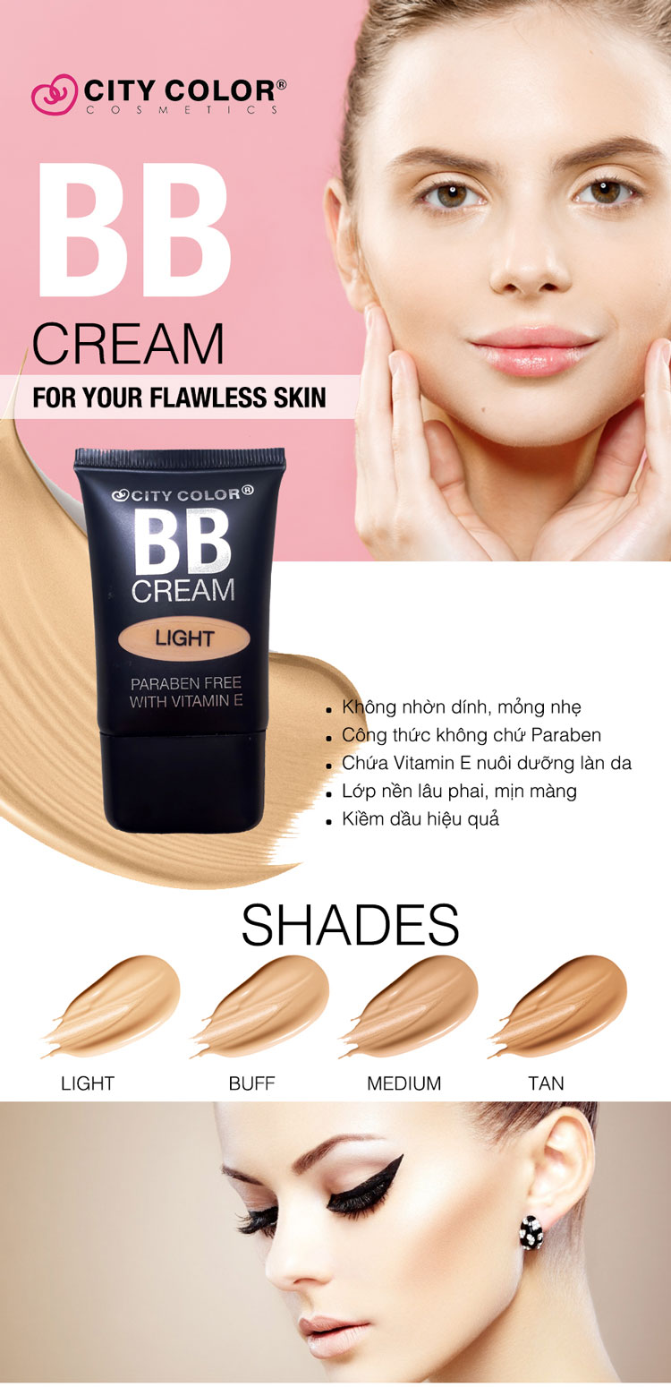 Kem Nền City Color BB Cream (23.2ml) #Light